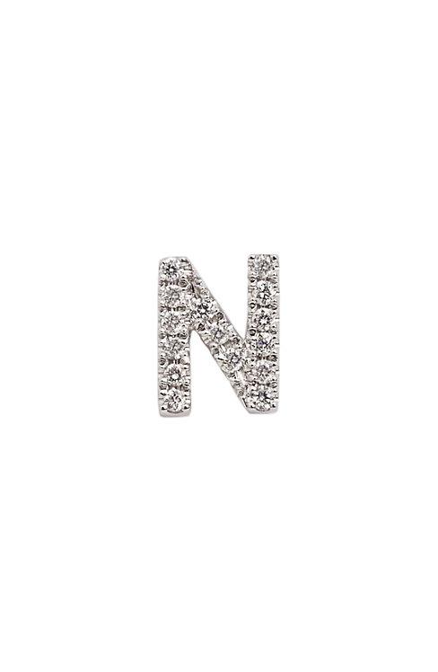 """Single Initial Diamond Stud - """"N"""""""