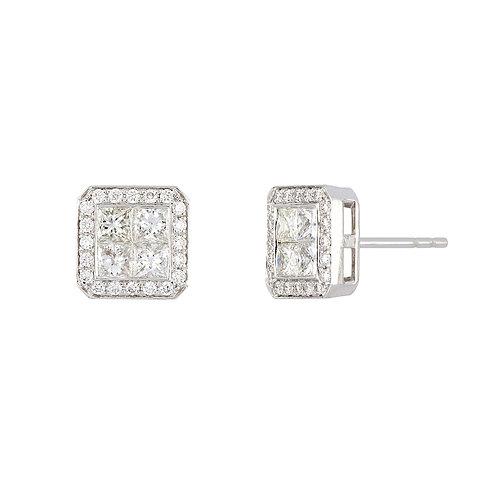 18K White Gold Square Diamond Studs