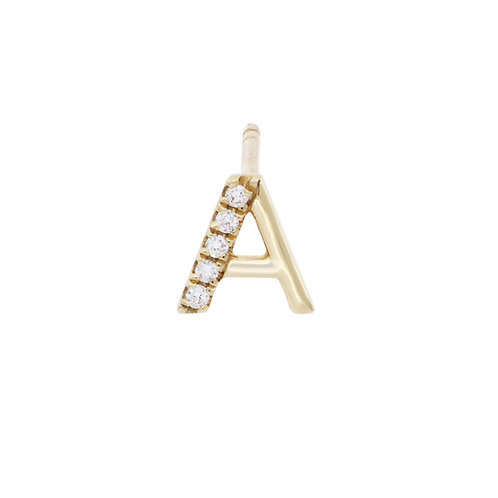 "Single Diamond and Gold ""A"" Initial Stud"