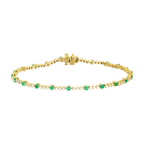 El Mar Emerald and Diamond Tennis Bracelet