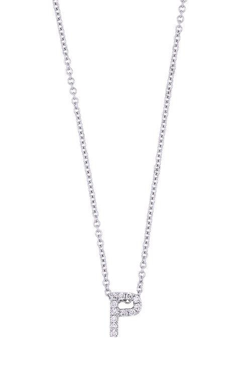 "Single Initial Diamond Pendant - ""P"""