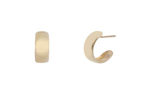 14K Small Flat Wide Hoops