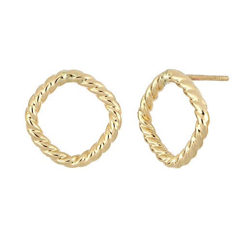 Bony Levy Gold Textured Open Shape Studs