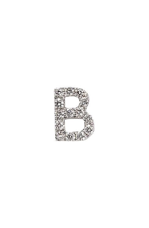 "Single Initial Diamond Stud - ""B"""