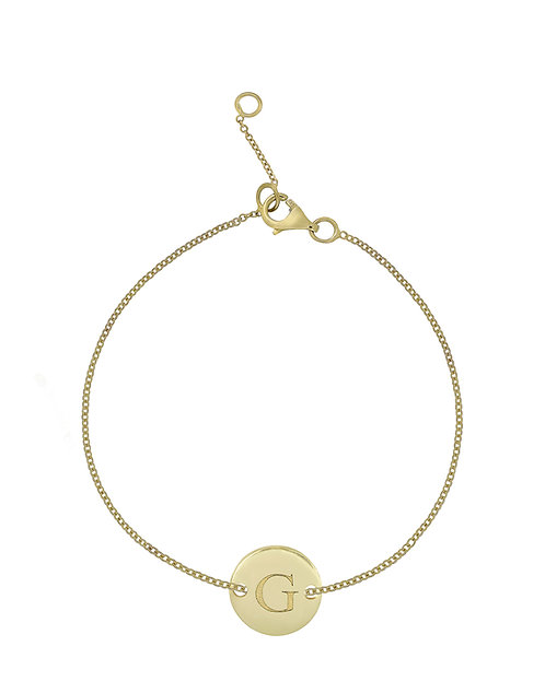 """14K Initial Bracelet - """"G"""""""