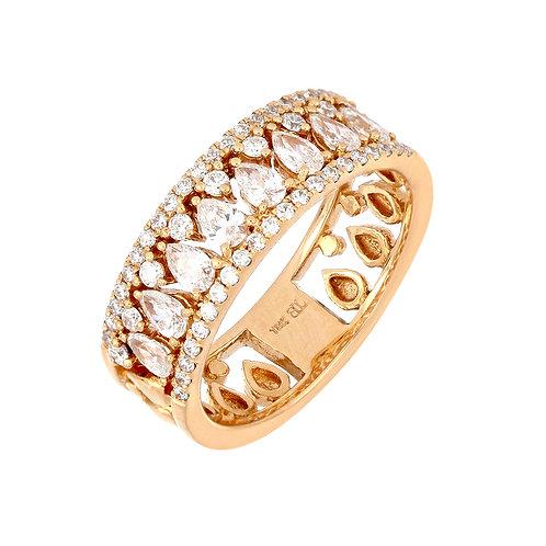 Teardrop Diamond Wide Band Ring