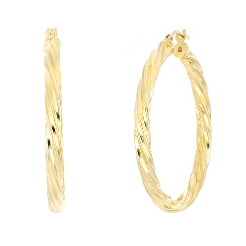 Gold Twisted Texture Large Hoops