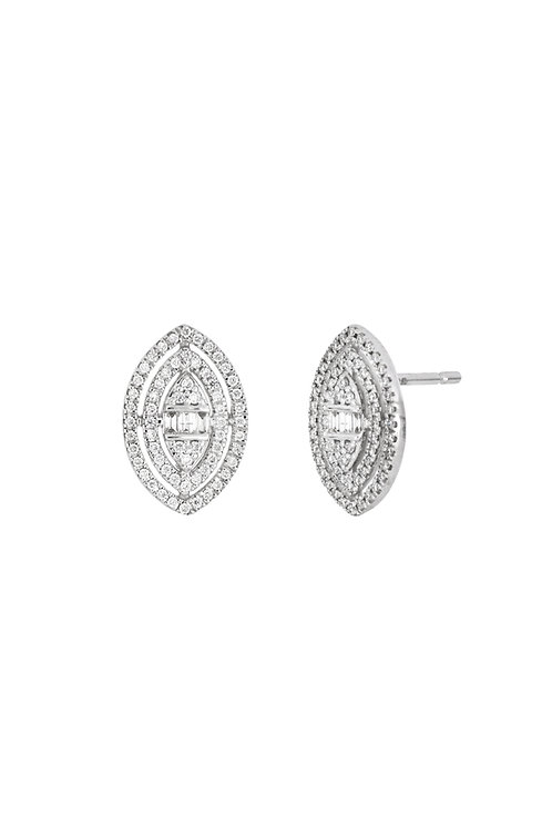MIKA DOUBLE HALO MARQUIS CLUSTER STUDS