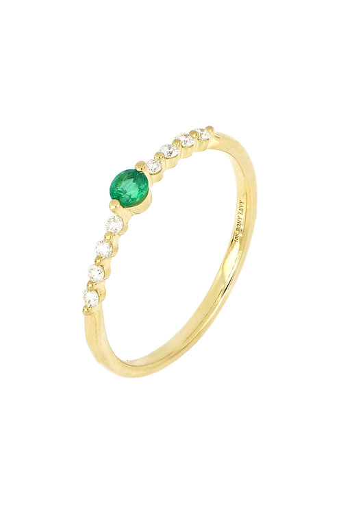 EL MAR EMERALD CENTER AND DIAMOND STACK RING