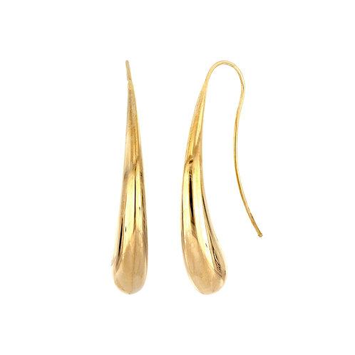 14K Gold Rounded Linear Earrings