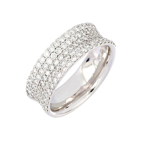 Diamond Concave Wide Band Ring