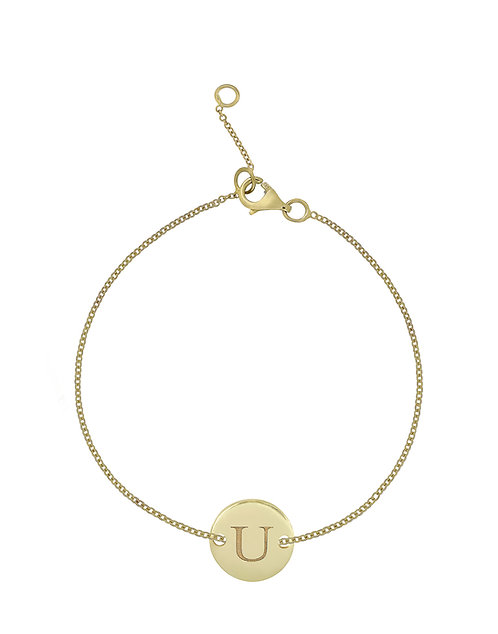 """14K Initial Bracelet - """"U"""""""