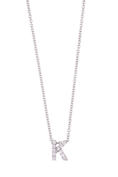 "Single Initial Diamond Pendant - ""K"""