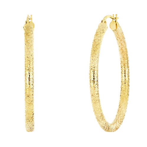 14K Textured Large Hoops