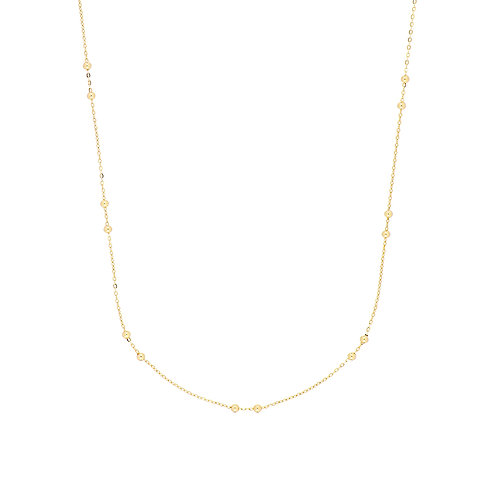 14K Gold Beaded Delicate Station Necklace