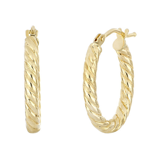 Bony Levy Gold Twisted Oval Hoops