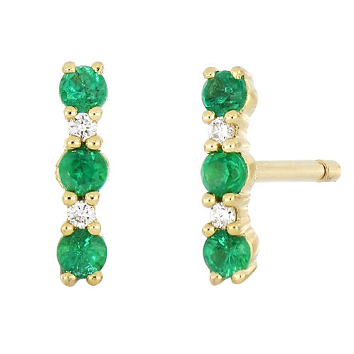 El Mar Diamond and Emerald Bar Studs