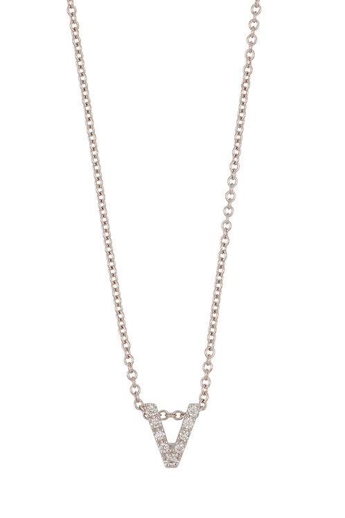 """Single Initial Diamond Pendant - """"V"""""""