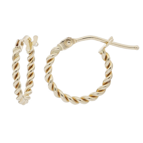 Bony Levy Gold Mini Textured Rope Hoops
