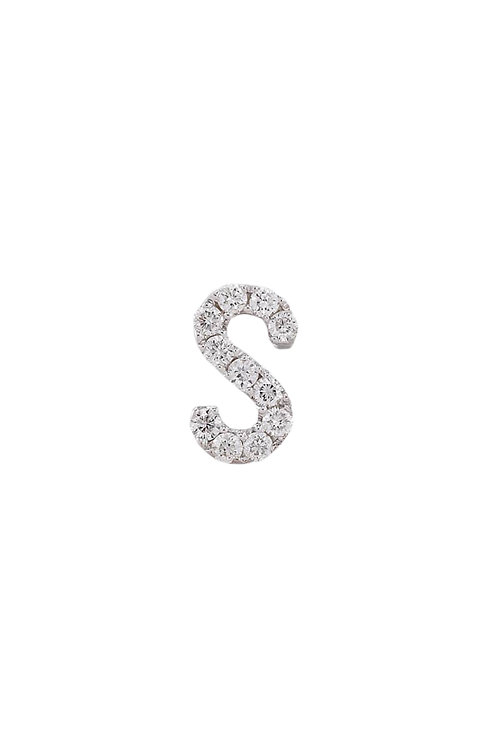 "Single Initial Diamond Stud - ""S"""