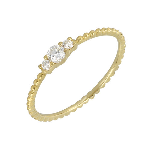 Diamond and Gold Bead Ring