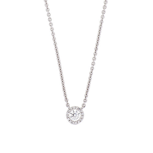 Round Diamond With Halo Solitaire Pendant