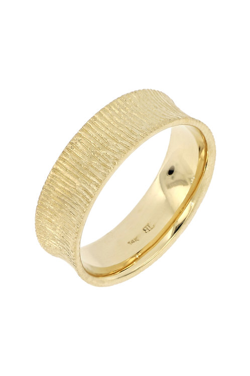 14K CONCAVE TEXTURED RING