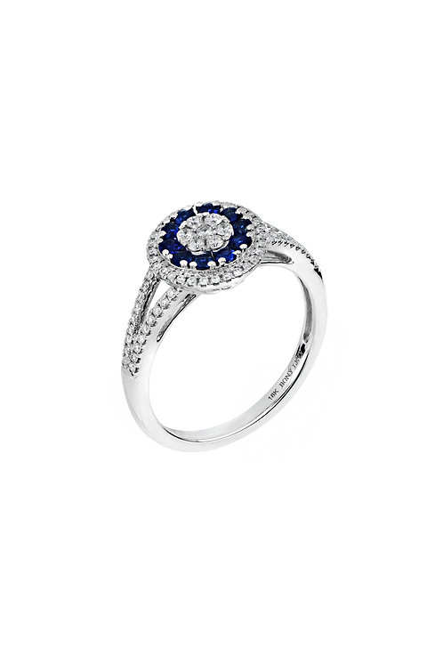 Circle Halo Sapphire and Diamond Ring