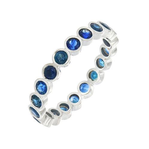Sapphire Bezel Set Stone Eternity Ring