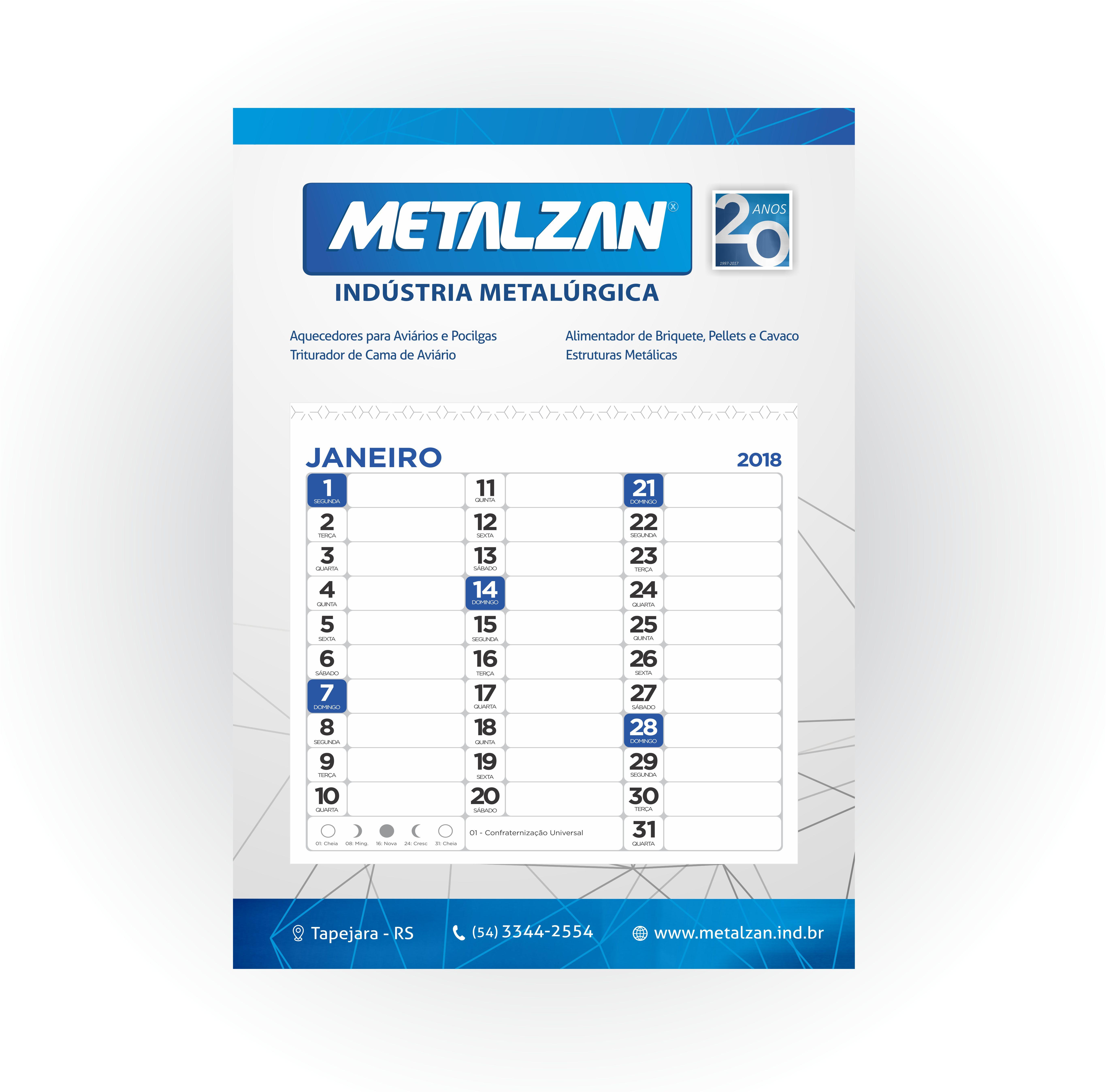 Metalzan calendário 2018