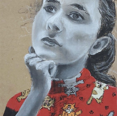 Charcoal and Fabric on Cardboard