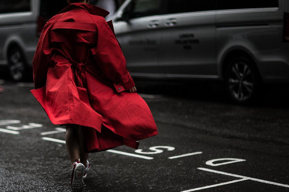 street style shot red coat lcm lfw