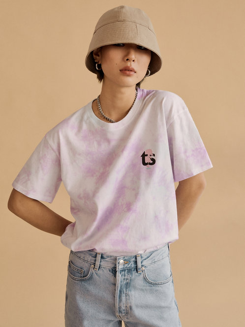 seoul finest hustler tie-dye organic cotton tee - pink