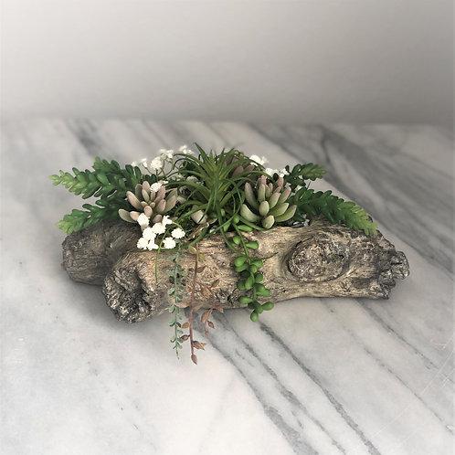 Künstliche Sukkulenten Arrangement in einer Vase, Holzoptik