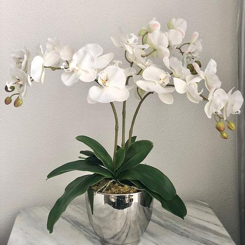 """""""Real Touch"""" Kunstorchidee (weiss) in einer Vase, 3 Zweige"""