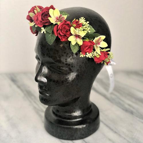 Kunstblumen Krone mit Rote Rosen und Orchideen