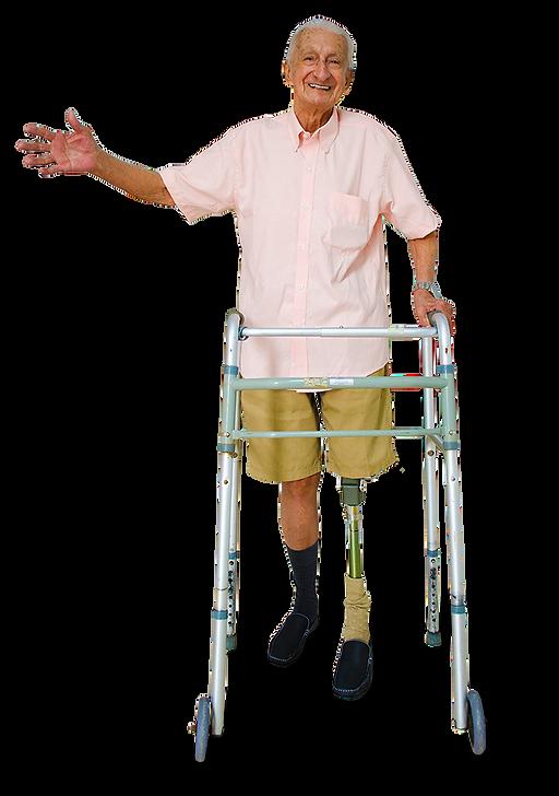 Anciano con prótesis de pierna