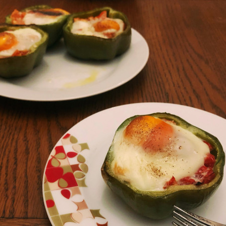 Eggs Baked in Peppers  // 1960s