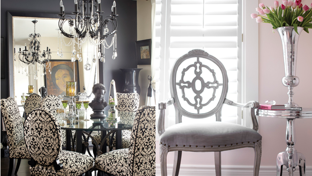 1) A large mirror placed on the ground brightens the dining room by modulating its perspective caused by the effects of its reflection.  2) Standing in front of the window covered with shutters, the silver armchair and the stainless steel side table create a charming reading area.