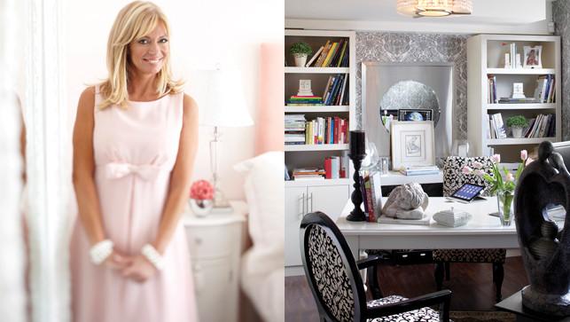 Pour intégrer le bureau au reste de l'aménagement, Julie a repris le même tissu que celui des chaises de la salle à manger (David Elmaleh, rembourreur).