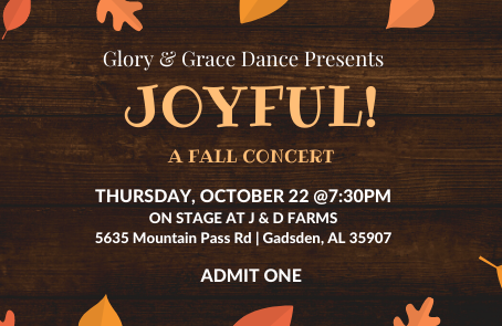 Tickets: Now at the Counter of Glory & Grace!!