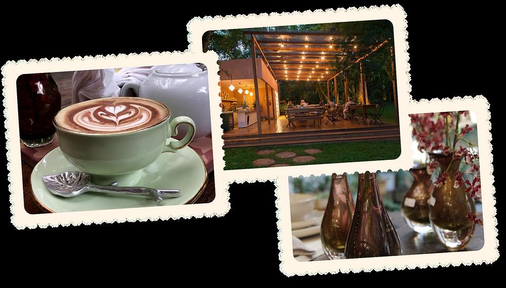 Deliciosos cafés, chás, bolos e um lindo jardim