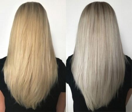 Strähnen blondierte Blondiertes Haar