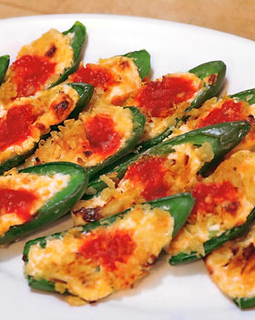 Jalapeno Popers with sansonetti sauces roased red pepper hot sace