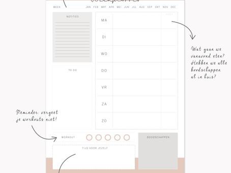 Gratis printable: overzichtelijke weekplanner downloaden