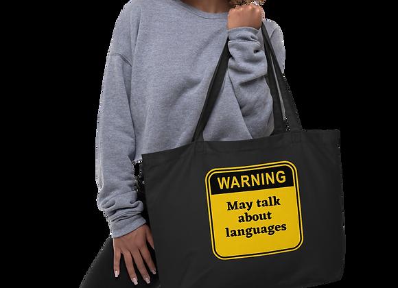 Warning Large organic tote bag black