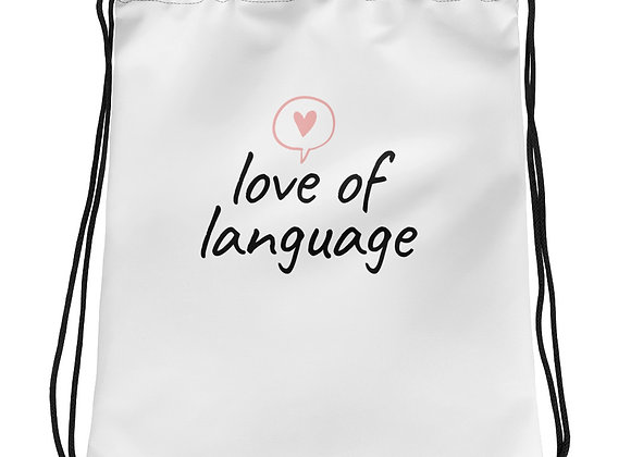 Love of Language Drawstring bag