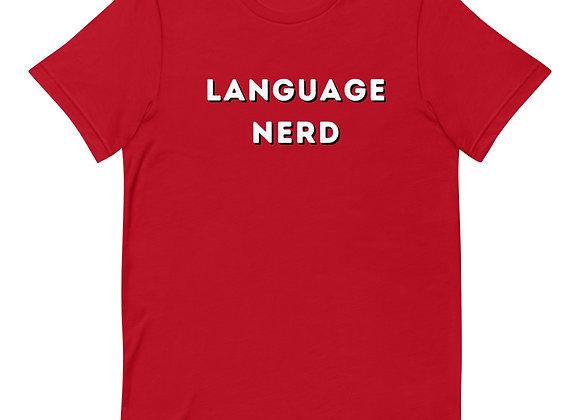 Language Nerd Short-Sleeve Unisex T-Shirt - Red