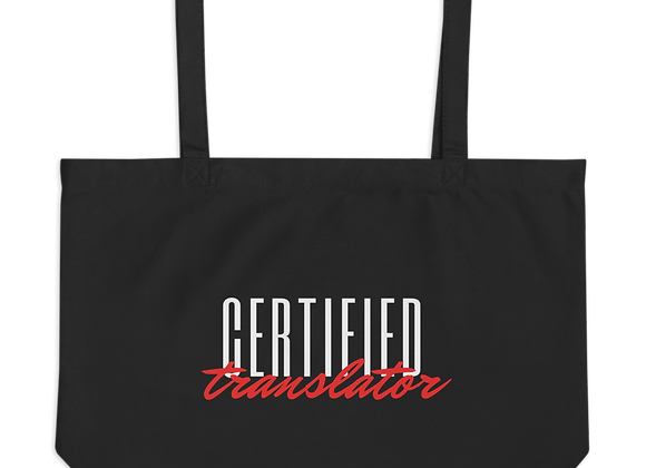 Certified Translator Large organic tote bag - Black