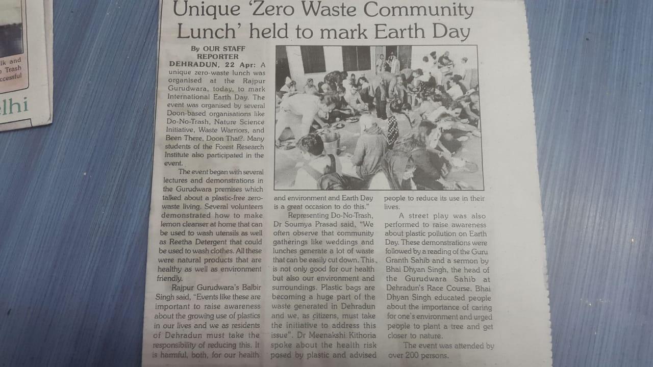 Zero waste lunch at Rajpur Gurudwara